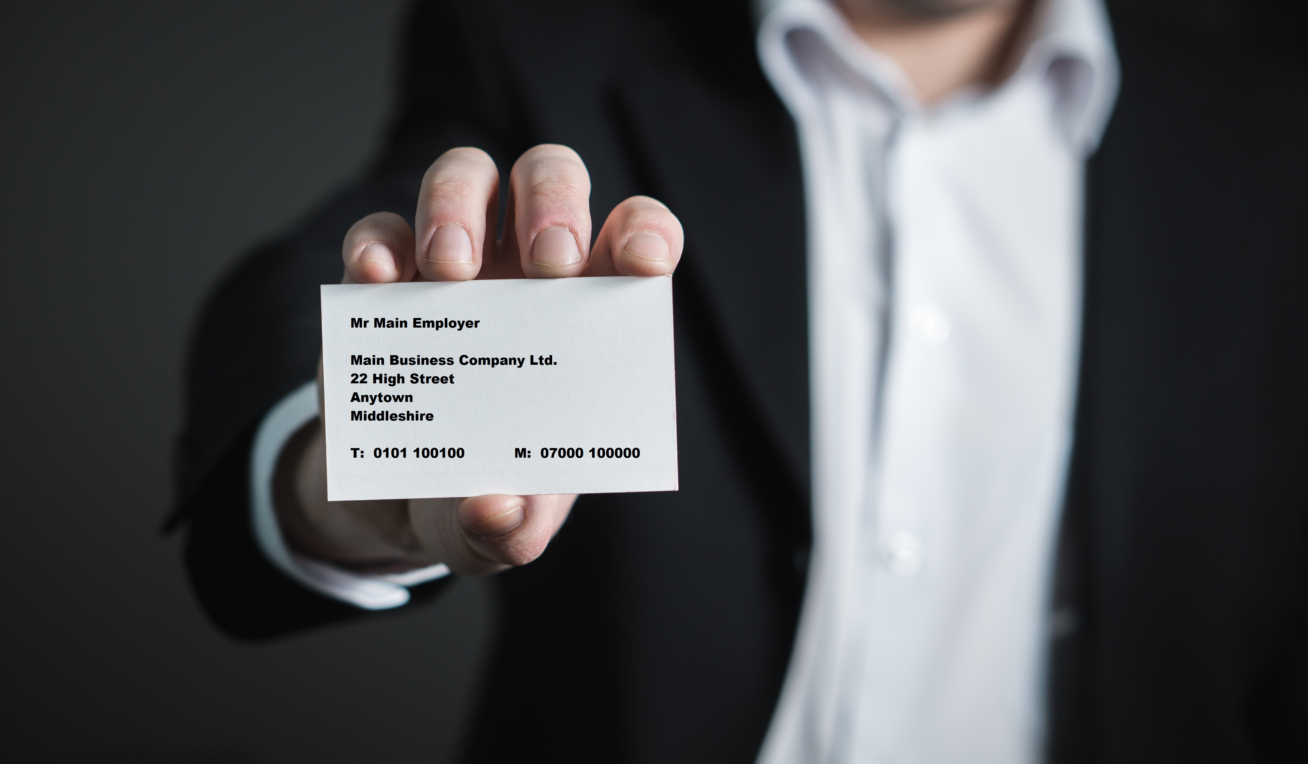 Employer showing his business card